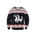 Christmas Elk Pattern Round Neck Long Sleeve Black Regular Fitted Sweatshirt