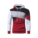 Unique Geometric Color Block Long Sleeve Slim Fitted Drawstring Hoodie