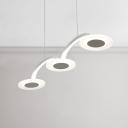 Nordic Post Modern White Acrylic 3 Light Disc Chandelier 22W LED Warm White Light 29.5