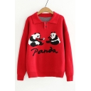 Cartoon Funny Panda Print Polo Collar Button Front Long Sleeve Sweater