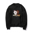 Round Neck Long Sleeve Cute Cartoon Rabbit Bear Printed Cotton Sweatshirt