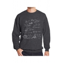 Men's New Trendy Mathematical Formula Printed Crewneck Long Sleeve Sweatshirt
