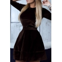 Ladies' Long Sleeve Crewneck Tied Waist Mini A-Line Velvet Dress