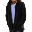Simple Loose Long Sleeve Plain Zip Placket Hooded Fleece Coat for Men