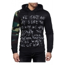 New Trendy Camo Patched Long Sleeve Fashion Letter Printed Slim Fitted Hoodie