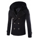 Unique Knit Detachable Hooded Long Sleeve Double Breasted Woolen Coat for Men