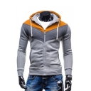 Men's New Fashion Long Sleeve Chic Color Block Slim Zip Up Hoodie