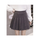 Winter's High Waist Solid Mini A-Line Woolen Pleated Skirt with Liner