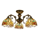Victorian Style Living Room Tiffany Stained Glass Multi-Light Ceiling Fixture in Historic Brass Finish