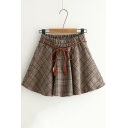 Vintage Khaki Check Pattern Elastic Waist Tied Waist Mini A-Line Skirt