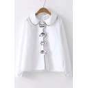 Simple Basic White Funny Pattern Long Sleeve Button Down Shirt