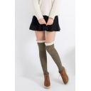 Cute Button-Embellished Layered Trim Wool Over Knee Stockings for Juniors