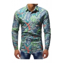 Men's Unique Pattern Long Sleeve Lapel Collar Button Front Blue Shirt