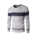 Men's Chic Colorblock Geometric Printed Long Sleeve Crewneck Slim Fitted Sweater
