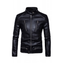 Men's Classic Long Sleeve Stand Collar Multi-Zip Embellished Slim Fitted Black Biker Jacket