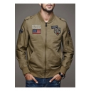 Men's Fashion Logo Patched Long Sleeve Stand Collar Zip Up Fit Bomber Jacket