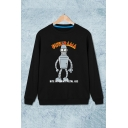 Fashion Letter Cartoon Printed Long Sleeve Round Neck Black Regular Sweatshirt
