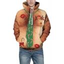 Fashion 3D Muscle Tie Pattern Long Sleeve Unisex Brown Hoodie