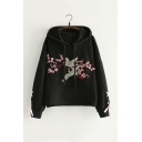 Chic Floral Crane Embroidered Long Sleeve Loose Fitted Hoodie