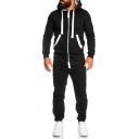 Men's Leisure Long Sleeve Contrast Trim Hooded Zip Front Slim Cotton Sports Jumpsuits