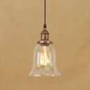 Rust Simple Hanging Pendant 1 Light with Bell Shape Clear Glass for Hallway