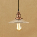 Rust Single Hanging Pendant Light Industrial Style with Clear Glass Saucer Shape for Cafe Restaurant