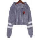 Floral Embroidered Chic Striped Long Sleeve Cropped Gray Fleece Hoodie