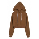 Unique Brown Long Sleeve Teddy Hair Fashion Cropped Hoodie