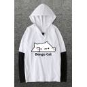 Cute Cartoon Printed Letter BONGO CAT Color Block Black and White Cotton Hoodie