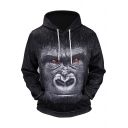 Black 3D Animal Ape Printed Long Sleeve Men's Sports Casual Hoodie
