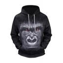 Black 3D Animal Ape Printed Long Sleeve Men's Sports Casual Hoodie