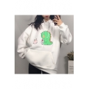 Oversize Long Sleeve Cartoon Dinosaur Pattern Leisure Hoodie for Girls