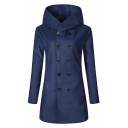 Winter's Basic Solid Long Sleeve Hooded Double Breasted Fitted Trench Coat