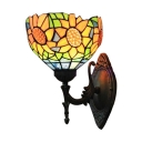 Sunflower Pattern Bowl Design Tiffany Style Wall Sconce with Multi-colored Glass Shade 8