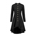 Long Sleeve Hooded Button Front Lace-Up Back High Low Hem Trench Coat for Women
