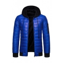 Men's Popular Fake Two Piece Long Sleeve Hooded Zip Up Slim Coat