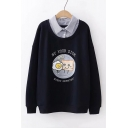 Cartoon Printed Striped Lapel Collar Patched Long Sleeve Fitted Sweatshirt