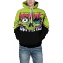 3D Skull Pattern Long Sleeve New Arrival Green Hoodie for Couple