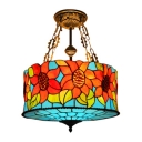 5-Light Semi-Flush Ceiling Light with Drum Design Sunflower Pattern Tiffany Stained Glass Shade, 18-Inch Wide