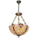 Ornate Flower Patterned Restaurant Hanging Light Fixture with Stained Glass Bowl Shade, 2 Designs for Choice