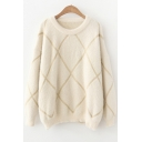 Round Neck Long Sleeve Striped Pattern Loose Fitted Sweater