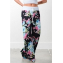 Women's Fancy Floral Pattern Tied Waist Loose Fitted Casual Pants for Women