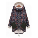 Winter's New Chic Check Printed Two-Tone Black Pocket Patched Zip Up Hooded Blue Coat