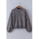 New Trendy Pearl Embellished Long Sleeve Mock Neck Gray Cropped Sweater