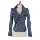 Vintage Distressed Blue Long Sleeve Zip Embellished Stand Collar Denim Jacket