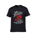 Men's Crewneck Short Sleeve Trendy Letter Printed Cotton T-Shirt