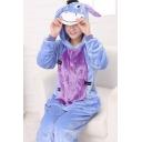 Fashion Two-Tone Long Sleeve Button Front Hooded Onesie Unisex Fleece Costume Donkey Pajamas