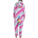 Pink and Blue Two-Tone Galaxy Horse Cosplay Unisex Onesie Costume Pajamas for Adult