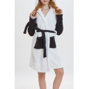 Trendy Color Block Two-Tone Hooded Long Sleeve Tied Waist Bathrobe