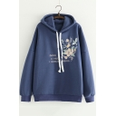 Floral Letter Embroidered Long Sleeve Casual Loose Leisure Hoodie
